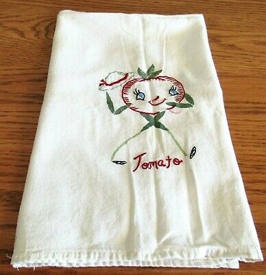 Vintage embroidered dish towel 27 x 27