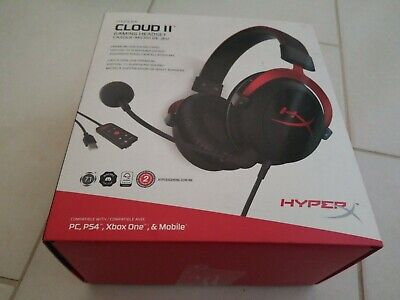RED HyperX Cloud II Gaming Headset 7.1 Virtual PC//PS4//XBOX RE-CERTIFIED