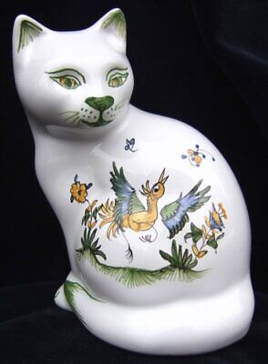 Chat assis figurine statuette FAIENCE de MOUSTIERS peint main cat