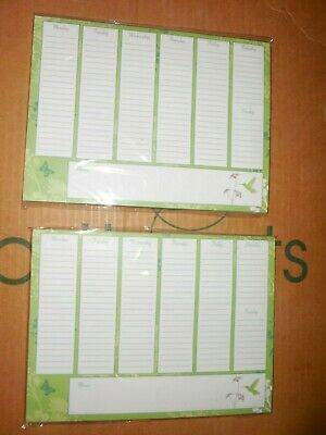 2 STUDIO 18 HUMMING BIRD Magnetic Pad Weekly Planner, Tasks, Appointments SALE