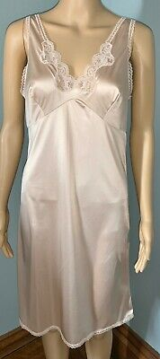 VTG Tendresse Beige Sheer Nylon Lace Trim Full Slip Sissy Granny Nightgown 36 M