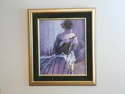 art work paintings, beautiful print of lovely lady from a.m. henrich, 20 century