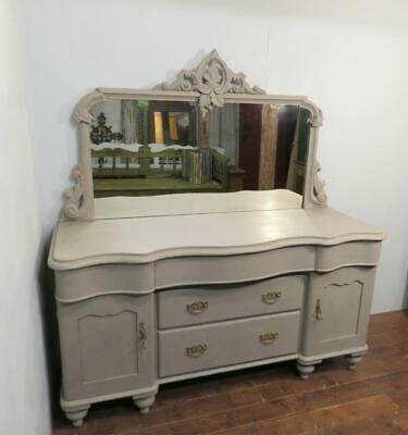 Antique Substantial Early Victorian Painted Pine Carved Farmhouse Sideboard