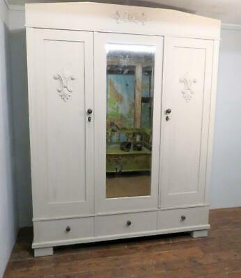 Antique Painted Pine Triple Armoire Wardrobe Dismantles 1900 Clean Ready To Use