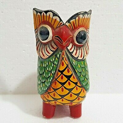 Vintage Hand Carved Polychrome Owl Wood Statue.