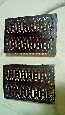 Victorian Metal Pair Air Brick Vent Grille Grate Architectural Antique 9x6""