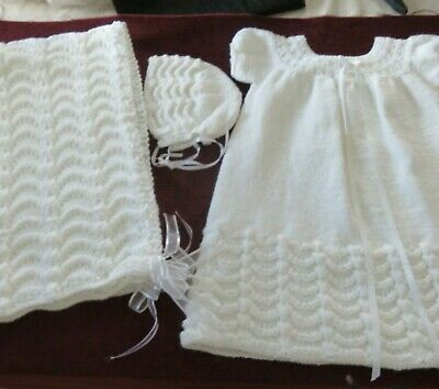 3 Piece White HAND KNIT BAPTISMAL Christening OUTFIT Gown, Blanket,Hat, Ribbons