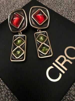 CIRO Art Deco Drop Earrings - Gold Plated Brass - Orange and Green Crystals