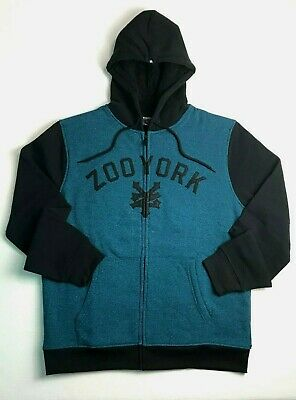 New ZOO YORK size Medium Black & Seaport Blue Teal Fleece Lined Zip Front Hoodie