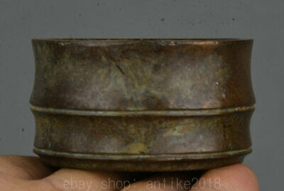 "2.2"" Xuande Marked Old Chinese Bronze Dynasty Palace Fu 福 Incense Burner Censer"