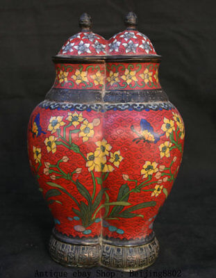 "14"" Old Marked Chinese Cloisonne Bronze Flower Butterfly Double Port Bottle Vase"