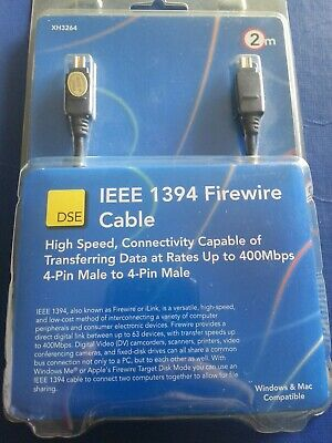 DSE IEEE 1394 Firewire Cable 2m 4-Pin Male to 4-Pin Male