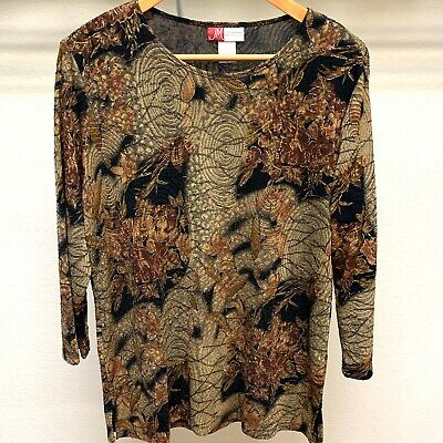 JM Collection Womens Size L Black Brown & Gold Glittery 3/4 Sleeve Top Blouse