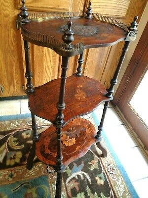 "Antique Wood 3 Shelf  Shelves Footed Stand Metal Fencing 32"" H Inlaid Florals"