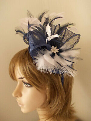 Navy Blue & Pale Pink sinamay fascinator feathers diamante flower hairband alice