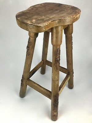 Victorian Wooden Saddle Stool / Arts And Crafts / Chair / Antique Furniture
