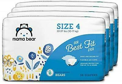 Brand Mama Bear Best Fit Diapers Size 4 144 Count Bears (4 packs of 36)