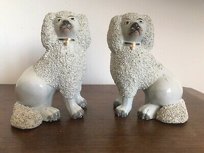 Genuine Pair 19thC Staffordshire Dogs - Wally Dogs - Poodles