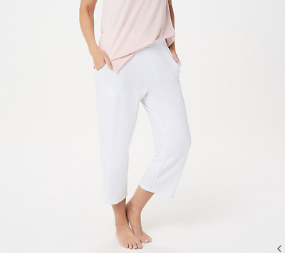 Belle by Kim Gravel Lovabelle Lounge Cropped Pants-White-Large A351606