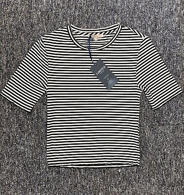 BNWT Ladies M&S Limited Edition Black White Striped Crop Top Size 8 Short Tight