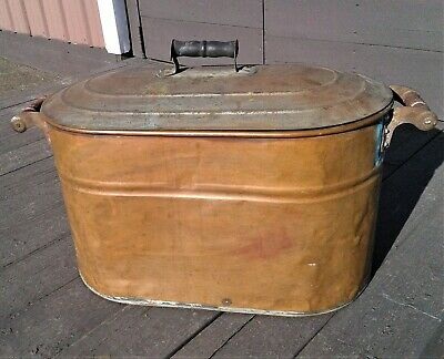 Antique Primitive Copper Boiler Wash Tub with Tin Plated Steel Lid 1900s Era