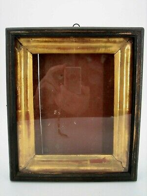 "Antique 19c Russian Antique Orthodox Icon ""Kiot"" - Goldplated Frame Shadow Box"
