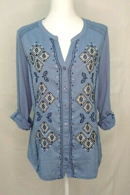 Style & Co Womens Embroidered Top Large Button Front Roll Tab Sleeves Blue Boho