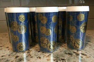 Vtg Gothamware Insulated Set Of 6 Gold Coin On Blue 12 Oz Tumblers