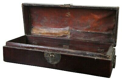 Handmade Antique Chinese Leather Scroll Box Trunk Chest Lacquer Handled Domed