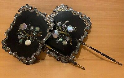 Pair Victorian Papier Mache Face Screens Antique Fans Fire Mother of Pearl inlay