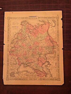 1863 Johnson and Ward Hand Colored Atlas Map of RUSSIA