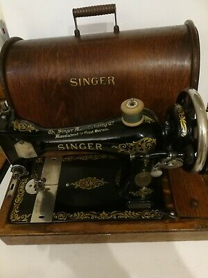 Vintage singer 128k manual sewing machine with bentwood case early 1920