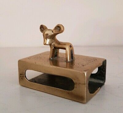 Vintage Brass Engraved & Decorative Deer Matchbox Holder / Striker - Chinese