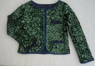 NEXT Girls Navy Blue Green Sequin Jacket Cardigan Formal Wedding Party 6-7 years