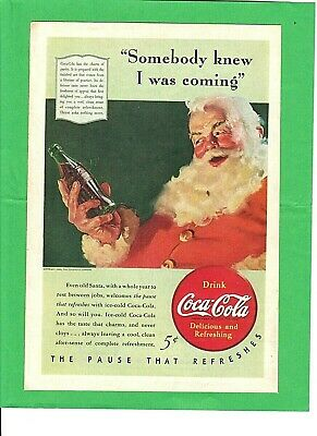 VINTAGE COCA-COLA ADVERTISING CHRISTMAS STAMPS SANTA CLAUS COMPLETE SET U.S