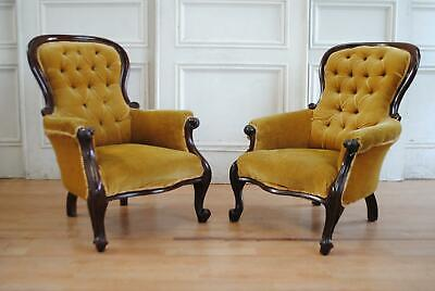 Pr Antique Victorian Mahogany Gents Button Back Chairs Fireside Armchair Library
