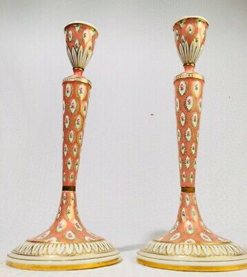 Pair 1753 Sèvres Royal Vincennes Vieux Paris Soft Paste Porcelain Candlesticks