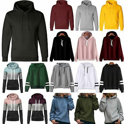 Womens Plain Sporty Hooded Jumper Sweatshirts Long Sleeve Hoodies Pullover Tops