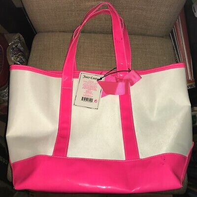 NWT Juicy Couture Tote Bag Hot Pink Trim Bottom and Ribbon Bow White