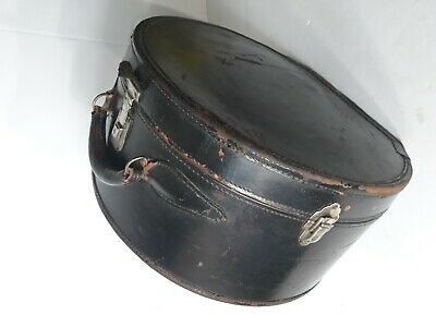Antique Rare T. Eaton Made In Canada Hat Travel Case Black Genuine Cowhide