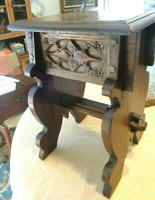 Antique Hand Carved Wood Wooden Stool Planter Bench Table Belgium