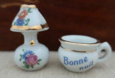 LIMOGES France miniature porcelain ornment LAMP - shaded light