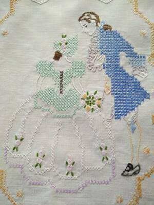 Gorgeous Crinoline and Gent  Vintage Hand Embroidered Centre/mat