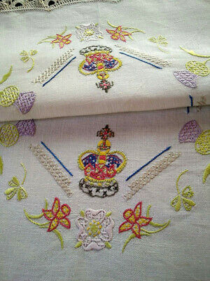 UK Royal Crown & National Flowers Vintage Hand Embroidered Centre & Crown Edge