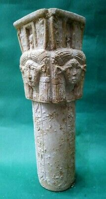 ANCIENT EGYPTIAN ANTIQUES Column Of HATHOR Face Sky Goddess Old Kingdom 1890 BC