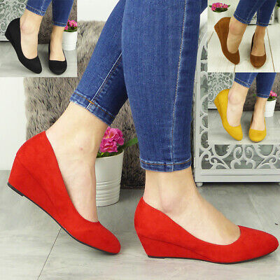 Womens Wedge Court Shoes Ladies Heel Comfy Sole Faux Suede Work Office Sizes