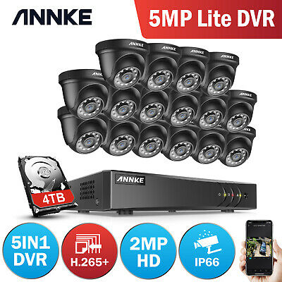 ANNKE CCTV System 1080P Lite DVR Outdoor Dome Night Vision Home Security Kit UK
