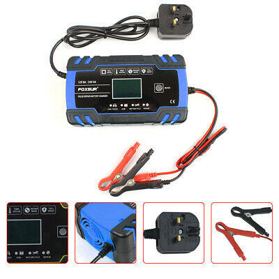8 Amp Intelligent Car Battery Charger Pulse Repair Starter 12V/24V AGM/GEL 2020