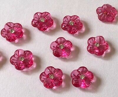 10 Pink Flower Buttons 12mm D308 AUSSIE SELLER