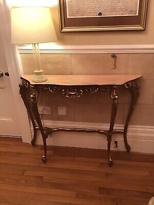Antique French Style Gold Gilt & Marble Console Table - Louis XVI Rococo Style